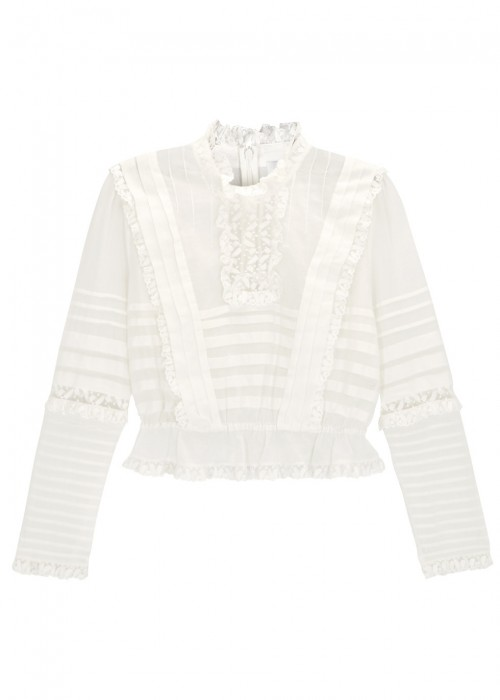 HELM LACE AND MESH-TRIMMED RUFFLED COTTON TOP