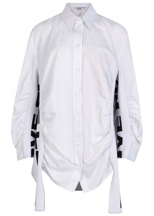 Striped Jersey And Cotton Blend Shirt in White