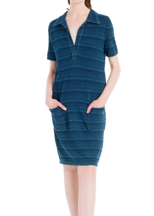 INDIGO STRIPED PIQUE DRESS