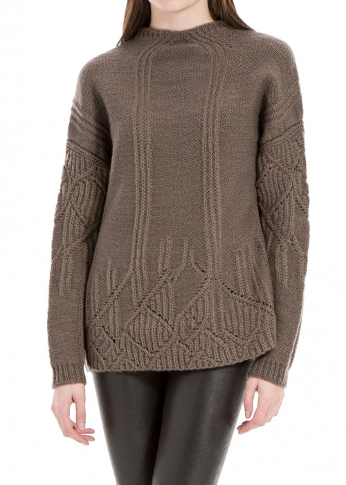 HEATHERED WOOL AND ALPACA PULLOVER SWEATER