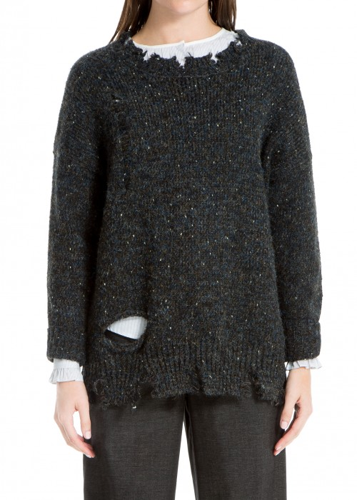 Leon Max  TATTERED KNIT PULLOVER