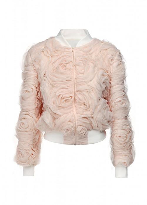 MIHANO MOMOSA Soft Pink Roses Bomber Jacket