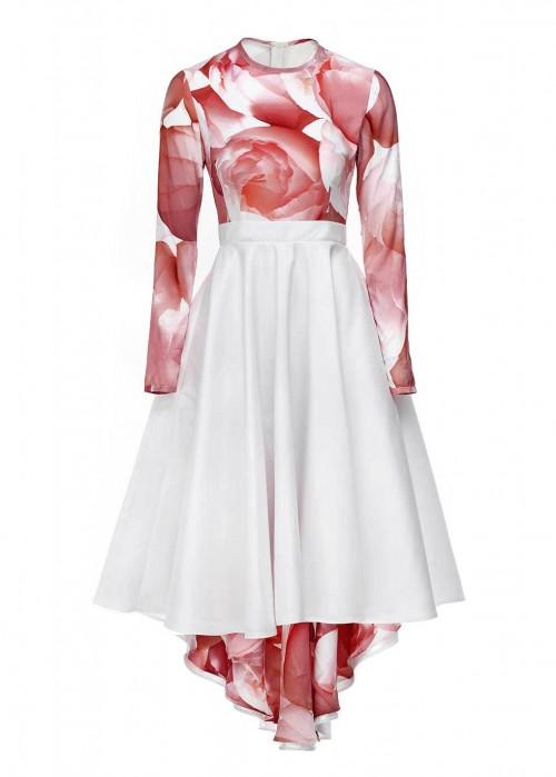 MIHANO MOMOSA Knee Length Red Peonies Dress