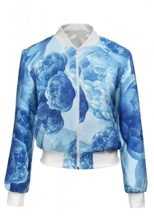 MIHANO MOMOSA Blue Peonies Print Bomber Jacket