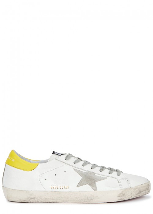 Golden Goose  SUPERSTAR WHITE DISTRESSED LEATHER TRAINERS