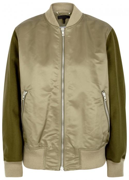 Rag And Bone Green Elle Bomber Jacket