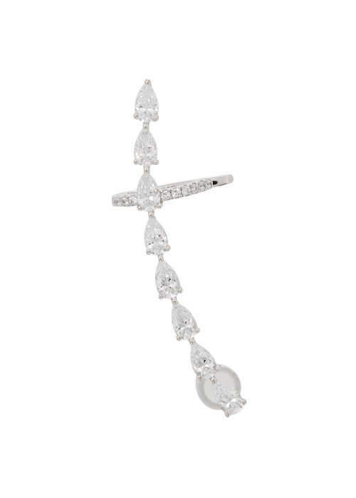 APM MONACO CRYSTAL-EMBELLISHED STERLING SILVER EARCUFF