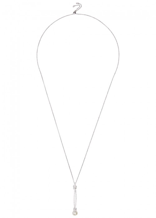 APM MONACO PEARL-EMBELLISHED KNOT STERLING SILVER NECKLACE