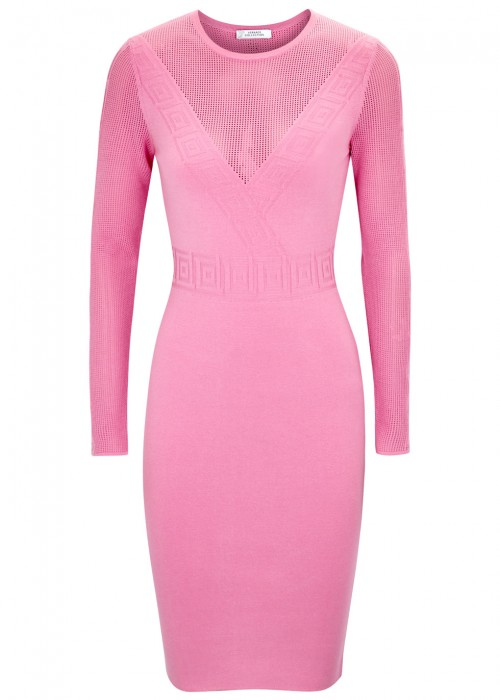 Versace Pink Panelled Stretch Knit Dress