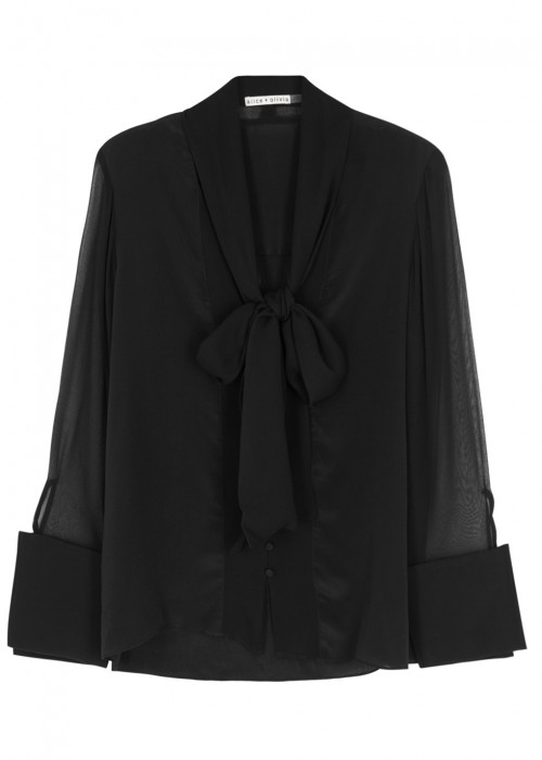Alice And Olivia  GWENDA BLACK SILK BLOUSE