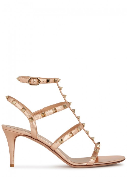 Valentino  ROCKSTUD 70 ROSE GOLD LEATHER SANDALS