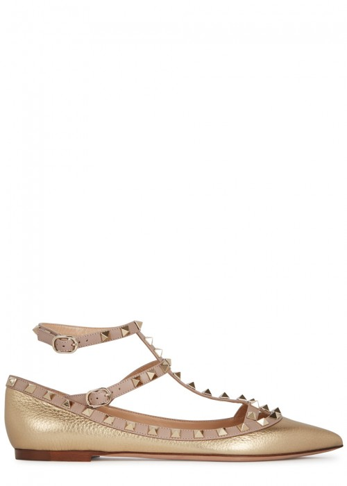Valentino  ROCKSTUD GOLD GRAINED LEATHER PUMPS