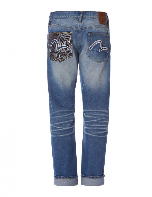 EVISU REGULAR-FIT DENIM WITH JACQUARD POCKET AND SEAGULL EMBROIDERY