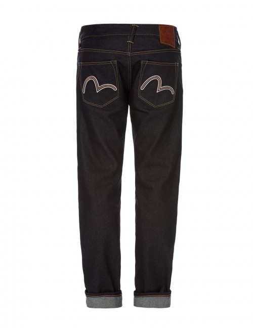 EVISU SLIM-FIT SEAGULL EMBROIDERED SELVEDGE JEANS