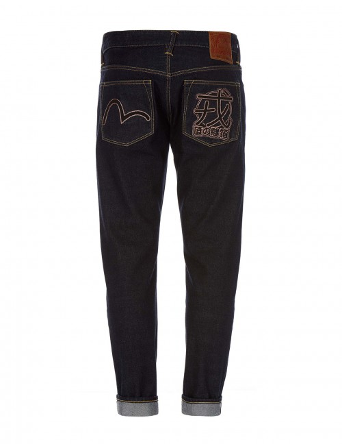 EVISU CARROT-FIT SEAGULL AND KANJI EMBROIDERED SELVEDGE JEANS