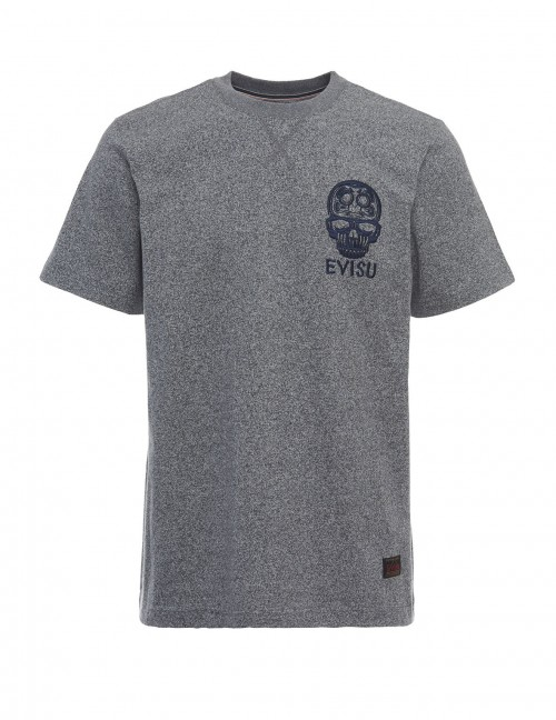 EVISU DARUMA SKULL EMBROIDERED T-SHIRT