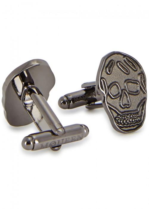 ALEXANDER MCQUEEN Gunmetal Skull Cufflinks, Silver