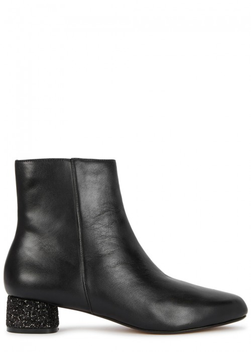 Raye NICOLE BLACK LEATHER ANKLE BOOTS