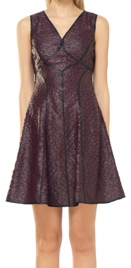 FIT AND FLARE COATED APPLIQUE DRESS