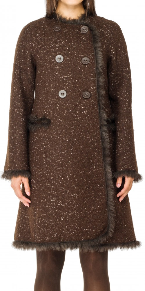 TWEED COAT WITH FAUX FUR TRIM