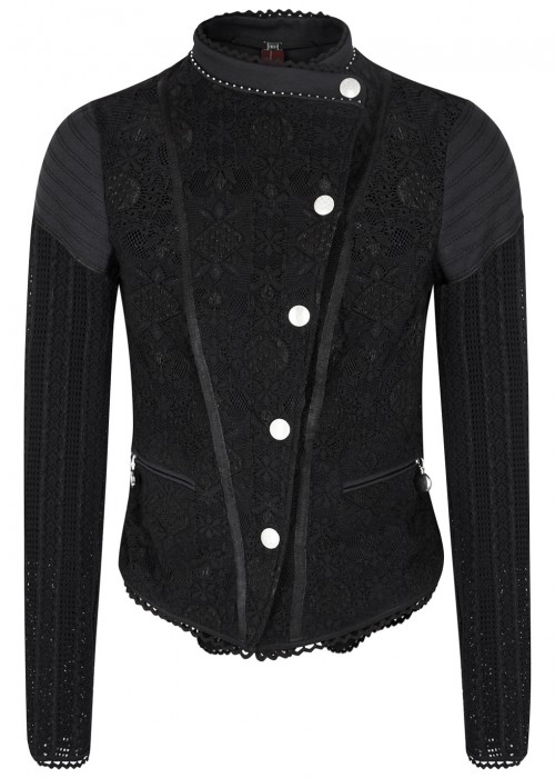 High OUTWIT BLACK STRETCH LACE JACKET
