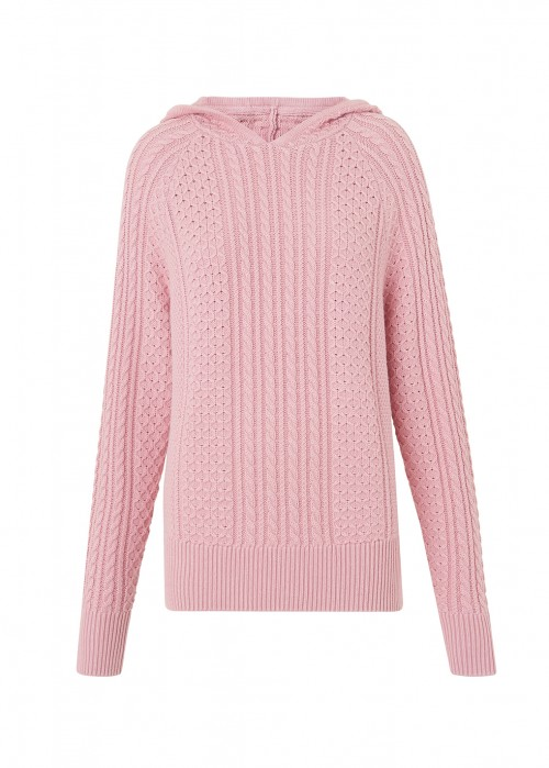 Kitri KATE PINK CABLE KNIT HOODY