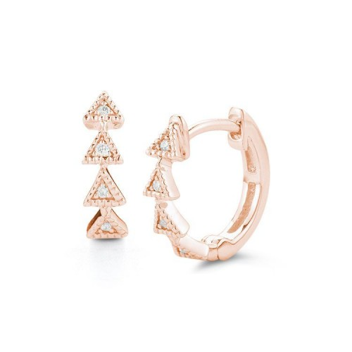 DANA REBECCA 14Ct Rose Gold Diamond Triangle Hoop Earrings
