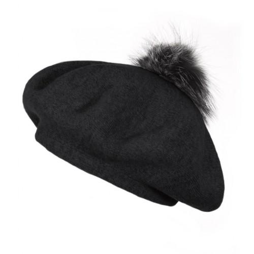 POPSKI LONDON Bella Beret Fur Pom Pom Hat Black With Silver Fox Fur Pom Pom