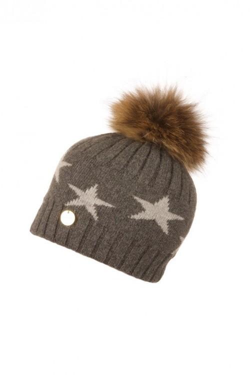 POPSKI LONDON Faux Fur Angora Pom Pom Hat With Stars - Charcoal