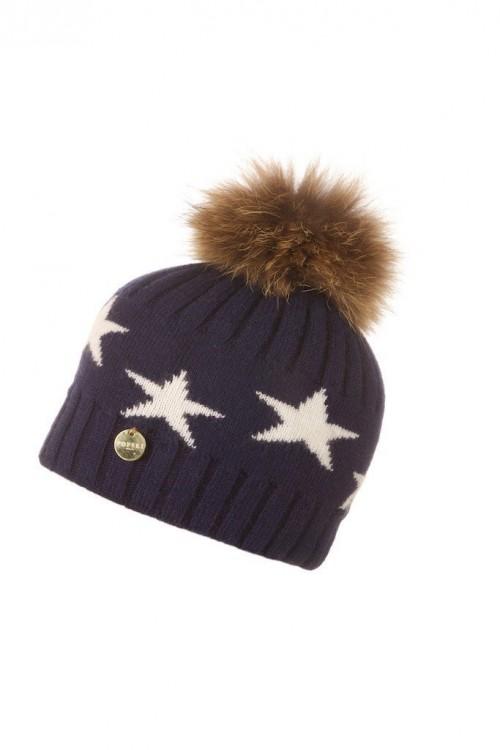 POPSKI LONDON Faux Fur Angora Pom Pom Hat With Stars - Navy