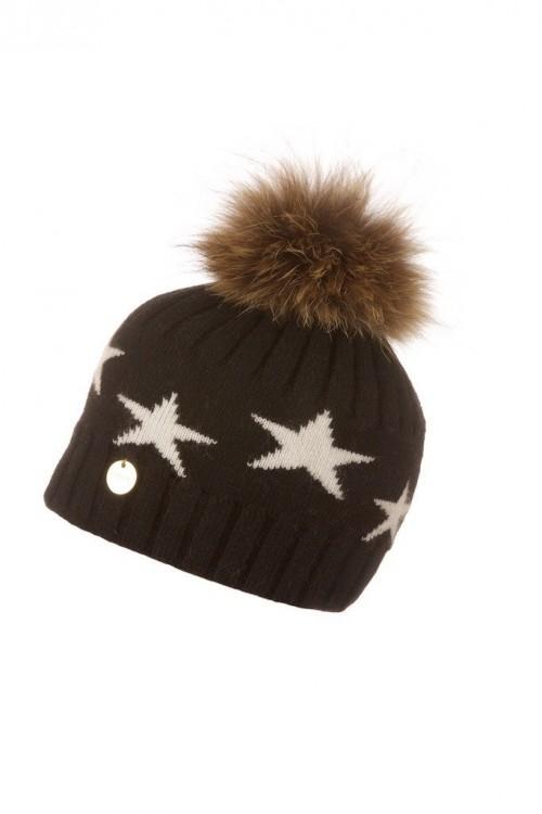 POPSKI LONDON Midnight Black Starry Hat With Natural Pom Pom