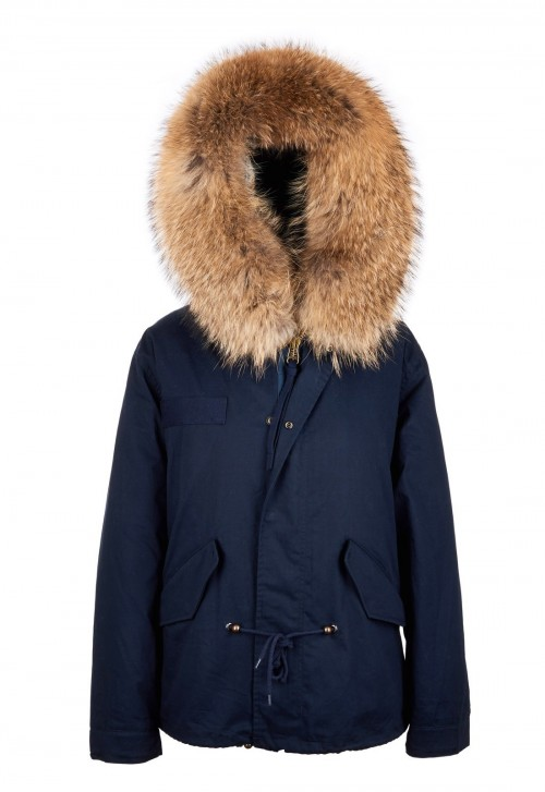 NAVY PARKA JACKET WITH NATURAL RACCOON FUR COLLAR