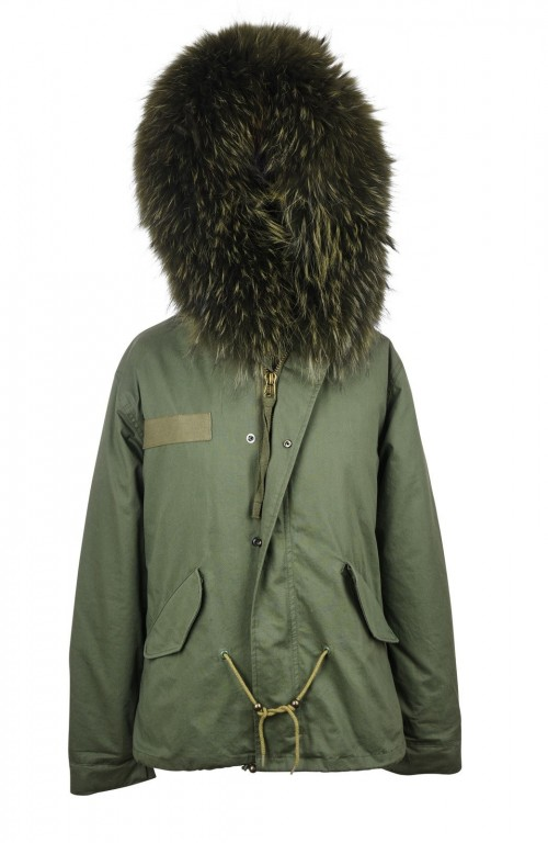 PARKA JACKET WITH ARMY GREEN RACCOON FUR COLLAR