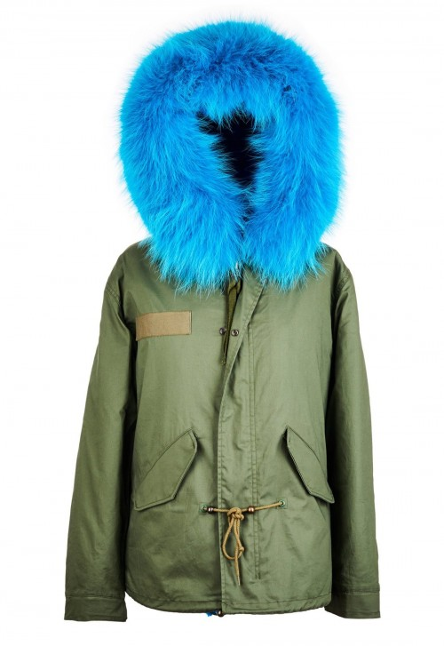 PARKA JACKET WITH AQUA RACCOON FUR COLLAR