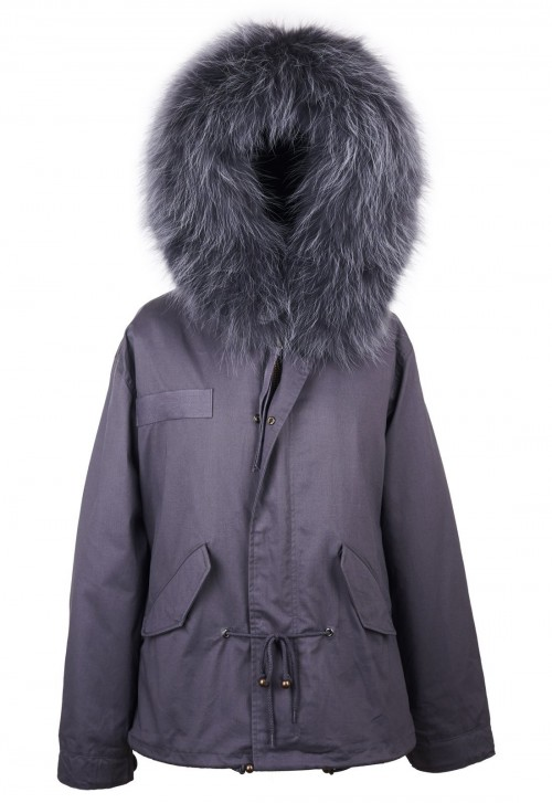 GREY PARKA JACKET WITH MATCHING RACCOON FUR COLLAR