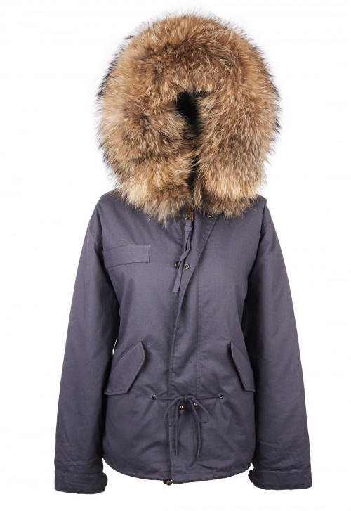 GREY PARKA JACKET WITH NATURAL RACCOON FUR COLLAR