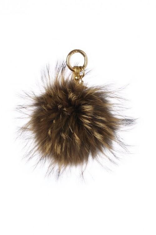 POPSKI LONDON Raccoon Fur Pom Pom Keyring - Natural