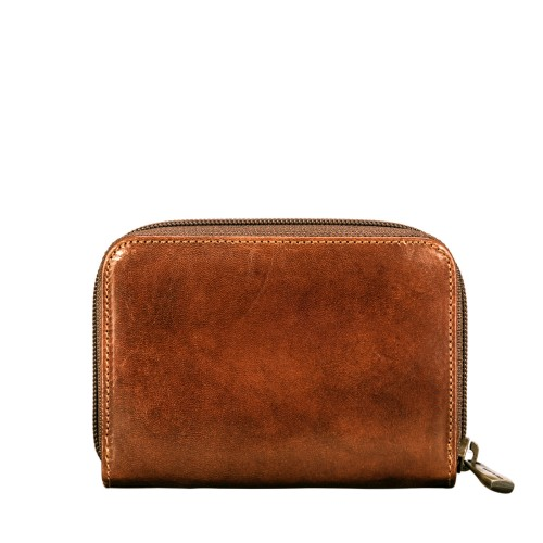 FINELY CRAFTED ITALIAN TAN LEATHER ZIP PURSE FOR WOMEN