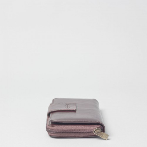 LARGE LEATHER BROWN ZIP PURSE
