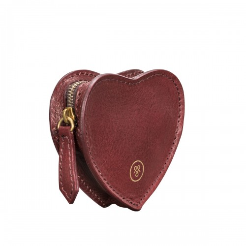WOMEN S LEATHER HEART SHAPED COIN PURSE IN WINE