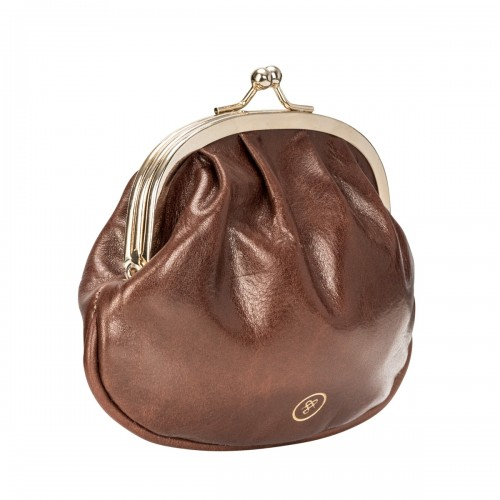 LADIES TAN LEATHER BALL CLASP COIN WALLET