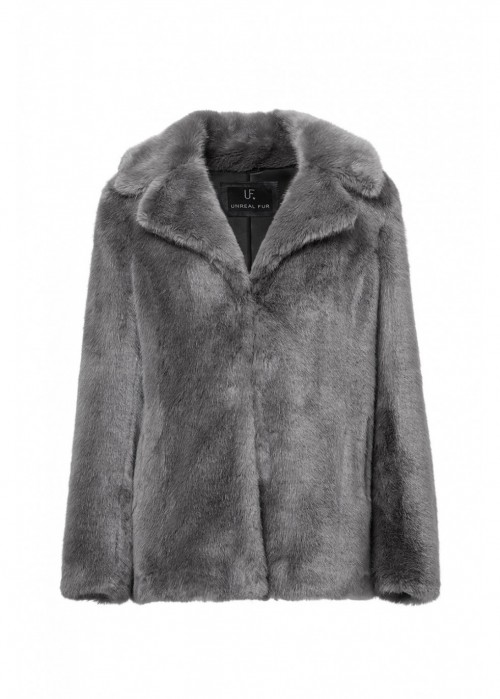 Unreal Fur  FAUX REAL COAT IN GREY