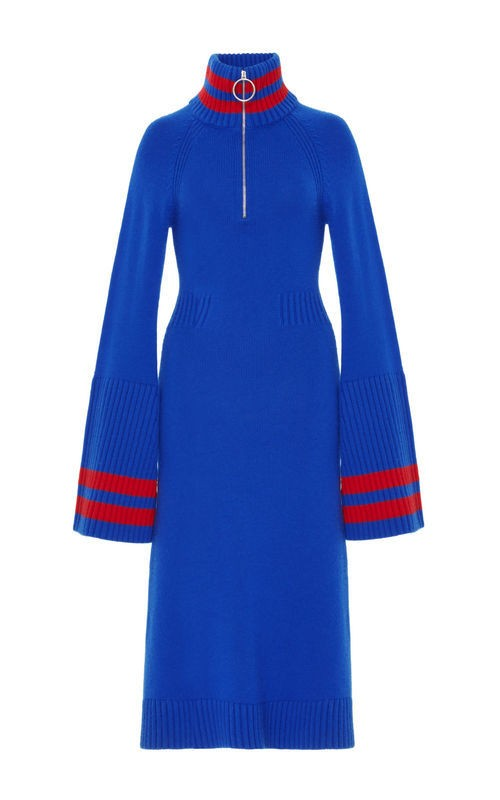 Jamie Wei Huang  CASHMERE BELL SLEEVE DRESS BLUE