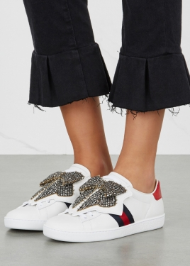 chanel trainers womens. crystal bow-embellished white leather trainers chanel womens e